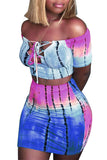 Off The Shoulder Mixed Color Printed Two Piece Sets