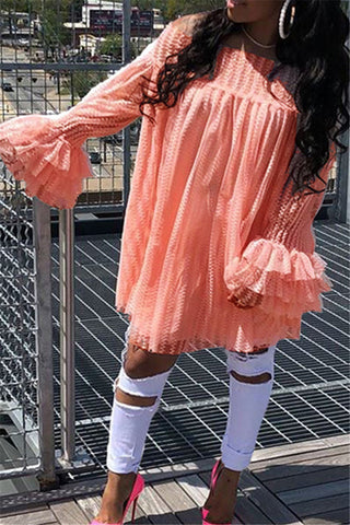 Ruffled Long Sleeve Solid Color High Low Dress