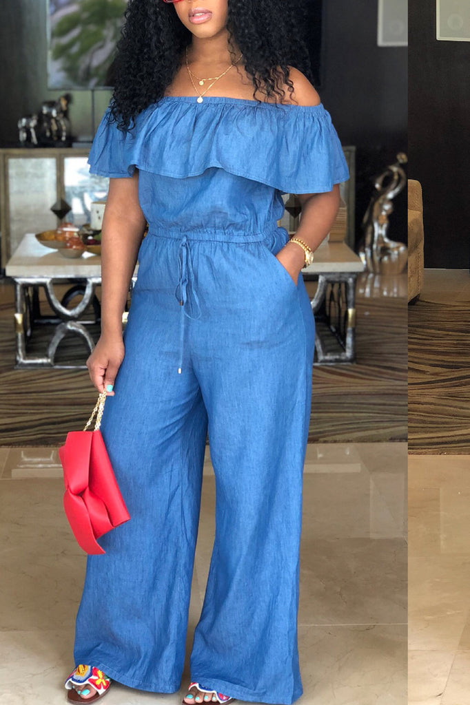 Off The Shoulder Ruffled Denim Casual Jumpsuit