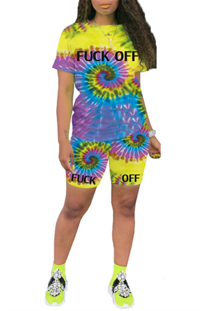 Letter Print Tie Dye Short Sleeve Top & Shorts