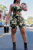 Camouflage Print Strappy Two Piece Sets - WHATWEARS