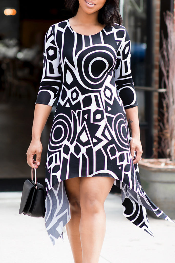 Printed Half Sleeeve Asymmetric dress