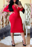 Bandage Solid Color Long Sleeve Midi Dress