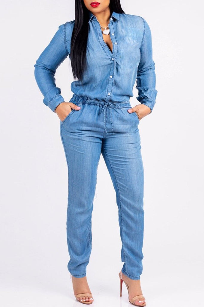 Plus Size Drawstring Turndown Collar Jumpsuit