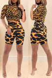 Leopard Print High Neck Two Piece Sets
