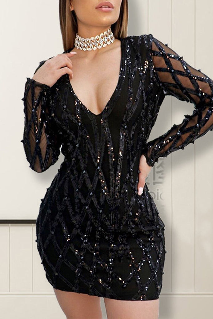 Deep V-Neck See-through Sequin Mini Dress