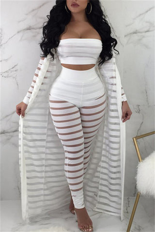 Letter Printed Stripe Solid Color Two-piece Sets