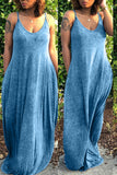 Solid Color Sleeveless Pocket Maxi Dress