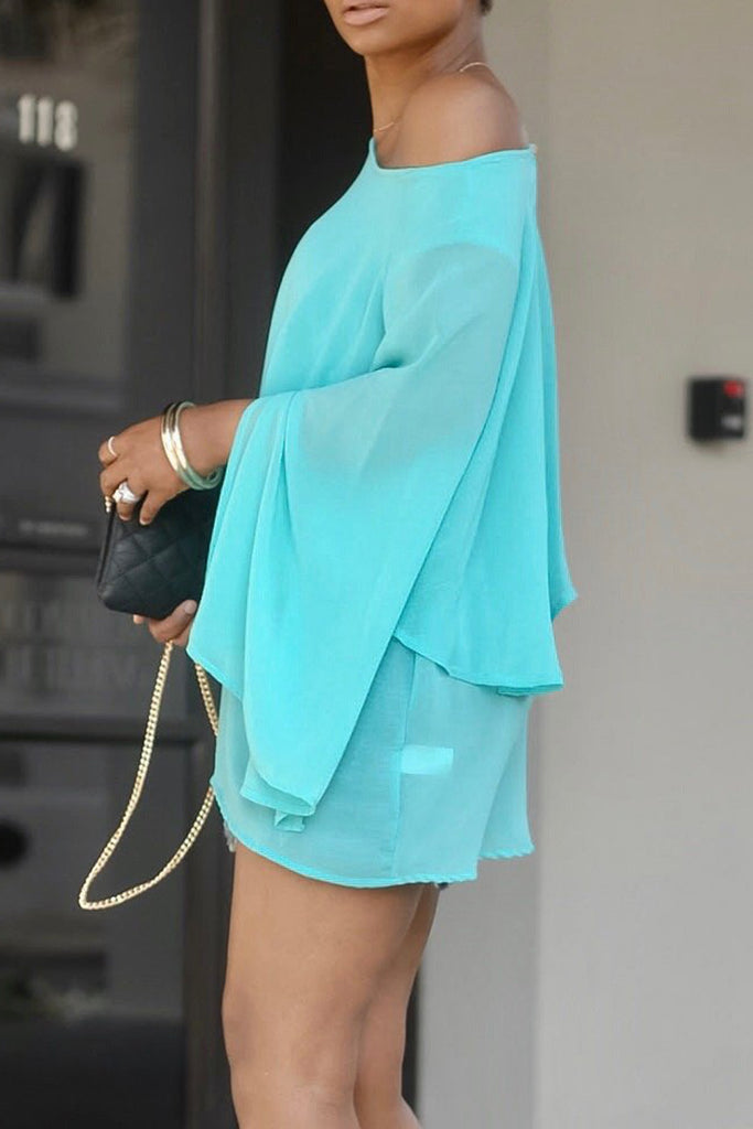Solid Color Chiffon Lantern Sleeve Blouse
