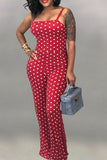 Sleeveless Polka Dot Printed Jumpsuit