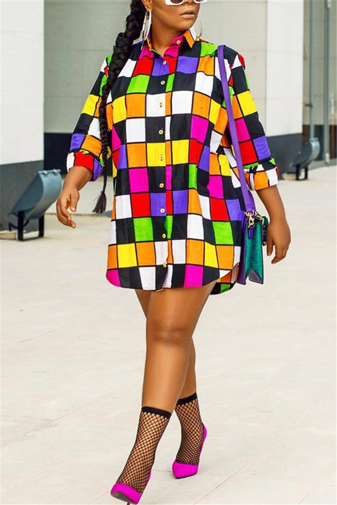 Colorful Plaid Button Up Shirt Mini Dress - WHATWEARS
