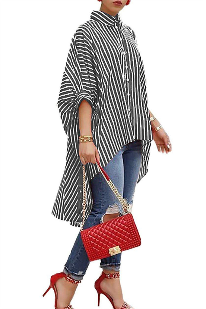 Asymmetric Hem Stripe Print Casual Shirt - WHATWEARS