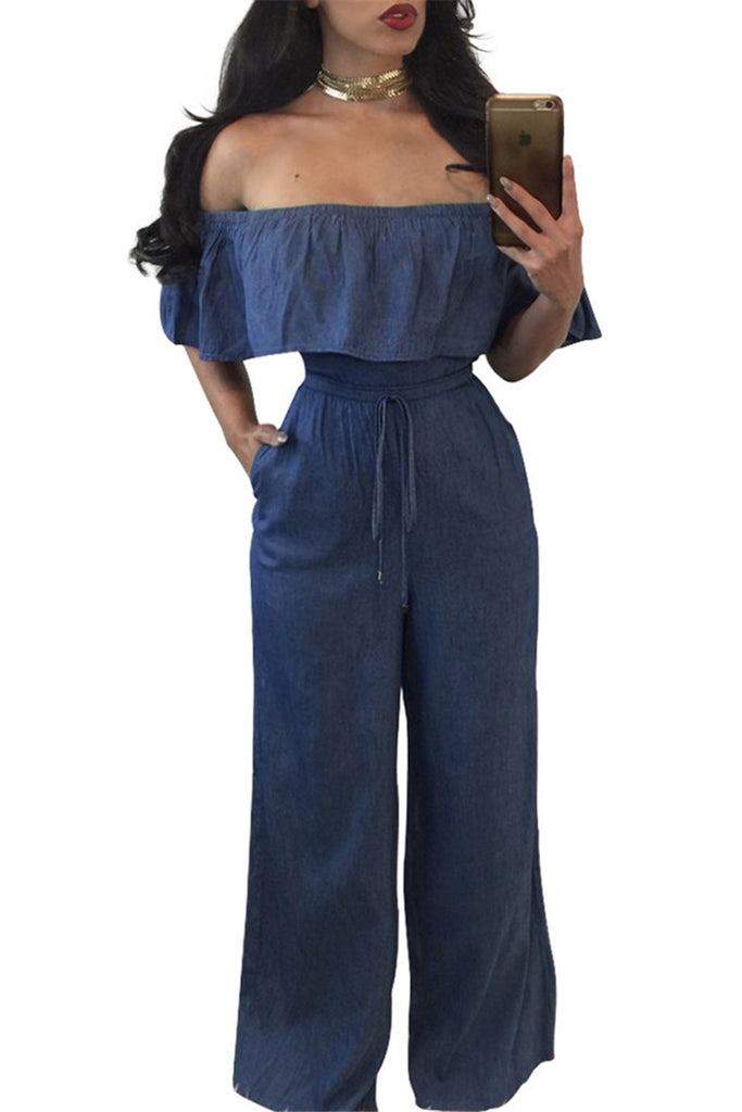 Off the Shoulder Ruffled Denim Jumpsuit