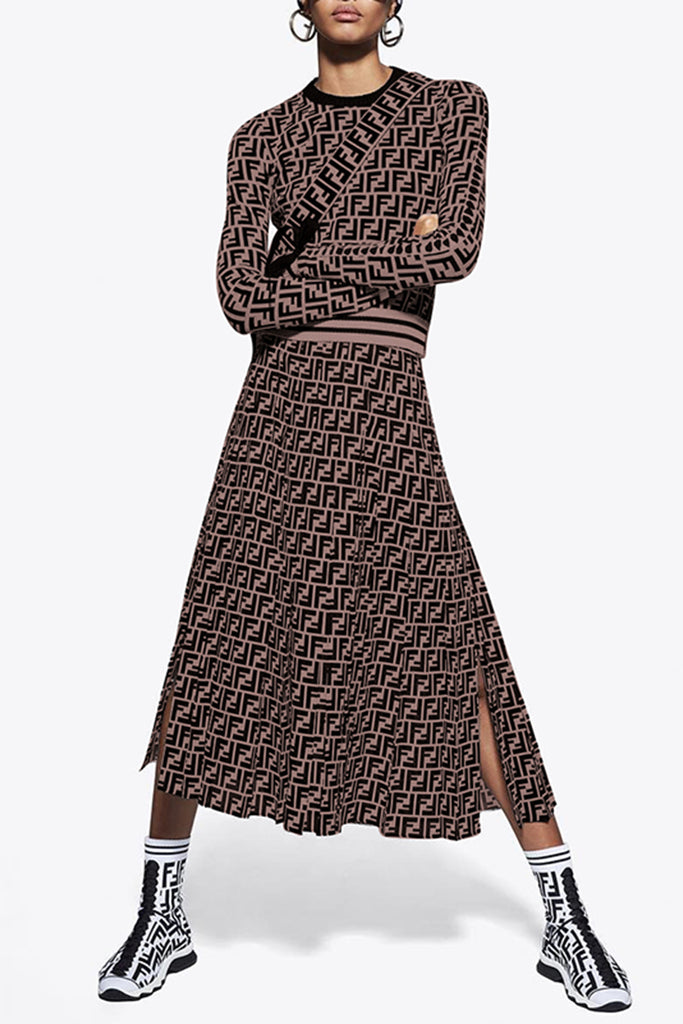 Slit Hem Digital Print Waisted Long Sleeve Casual Top & Skirt