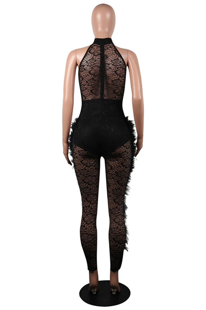Feather See-Through Halter Sleeveless Net Yarn Splicing Sexy Jumpsuit