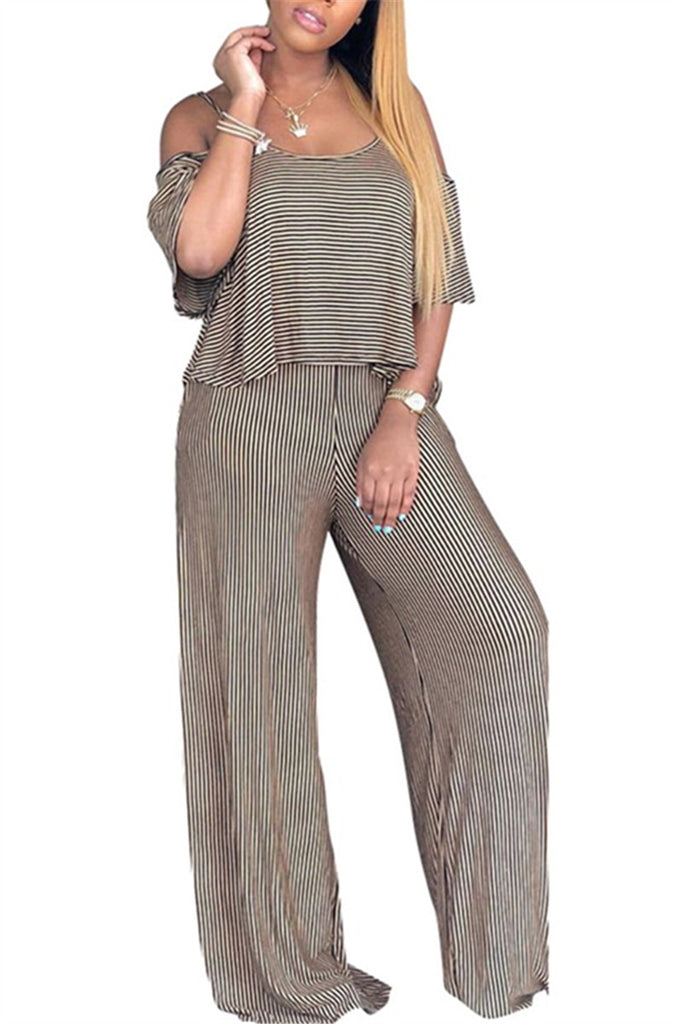 Off the Shoulder Striped Casual Jumpsuit
