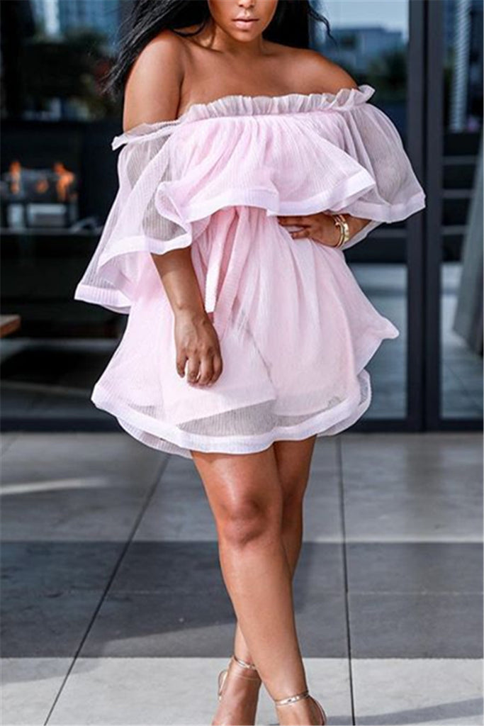 Off the Shoulder Ruffled Chiffon Mini Dress