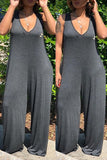V-Neck Hooded Plus Size Jumpsuit