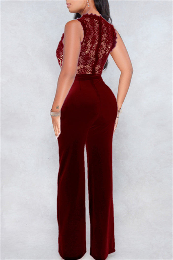 Sleeveless Lace Panel Solid Color Belted Jumpsuit