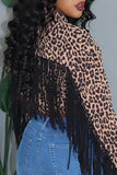 Leopard Print Tassels Zipper Up Jacket