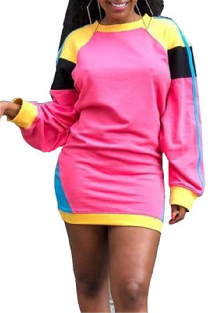 Color Patchwork Long Sleeve Mini Dress - WHATWEARS