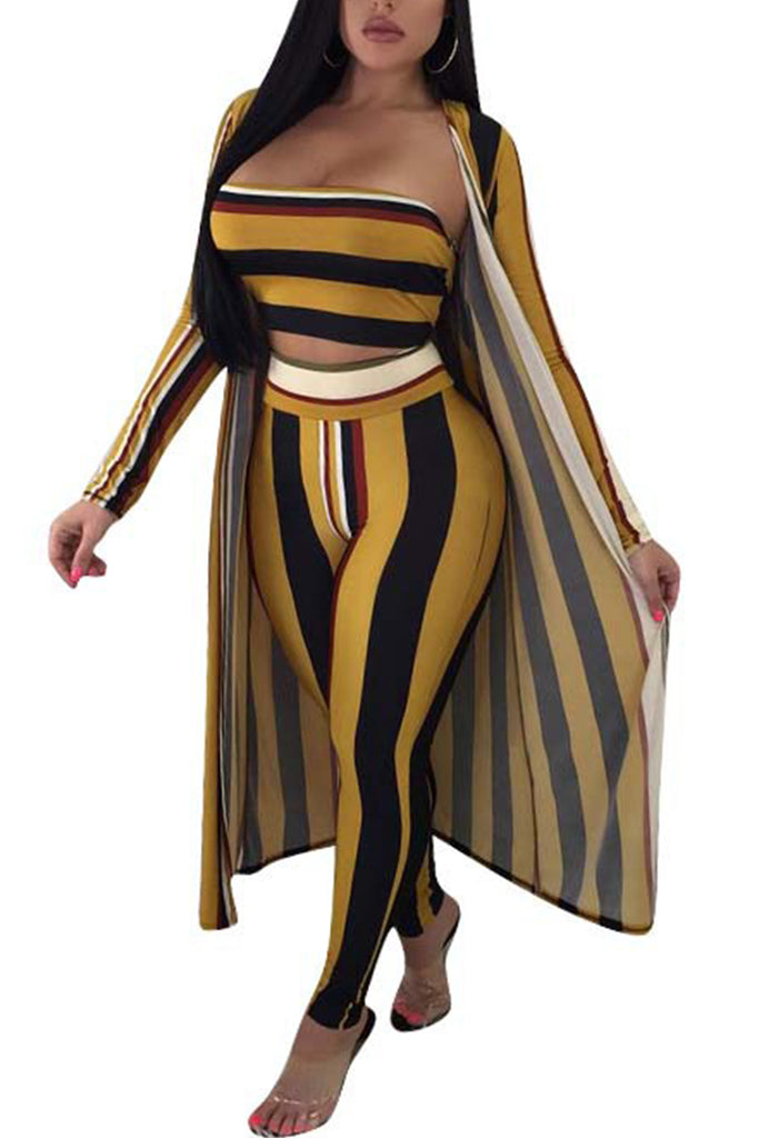 Off The Shoulder Stripe Three Piece Sets