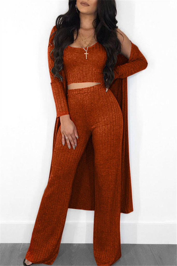 High Waist Solid Color Three Piece Sets