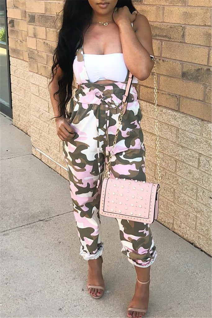 Camouflage Print Drawstring Waist Overalls