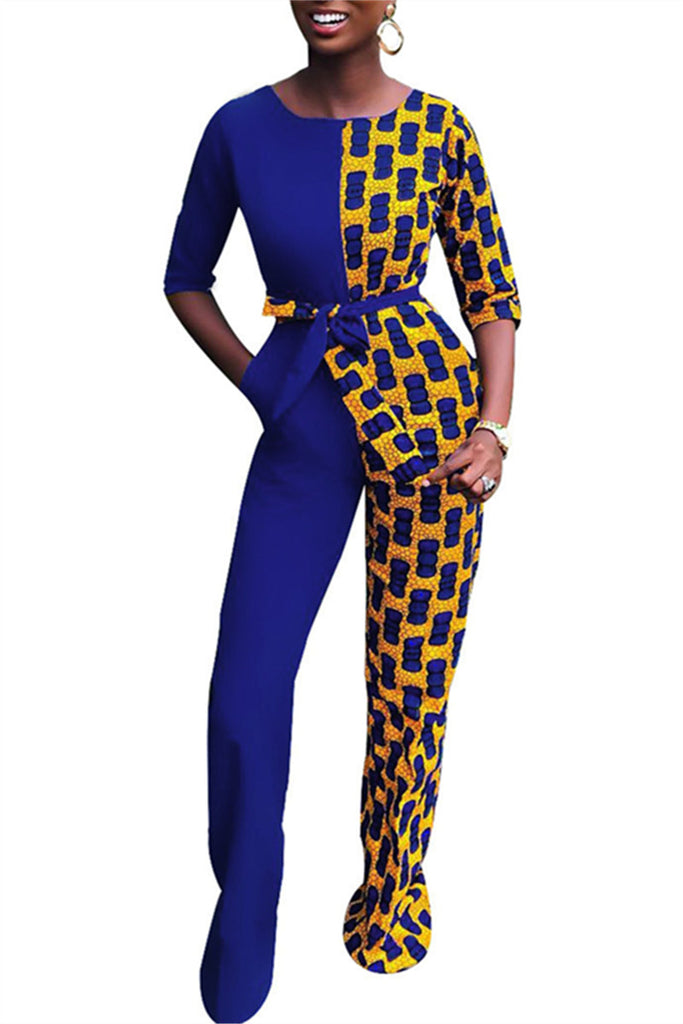 Half Sleeve Patchwork Belted Casual Jumpsuit