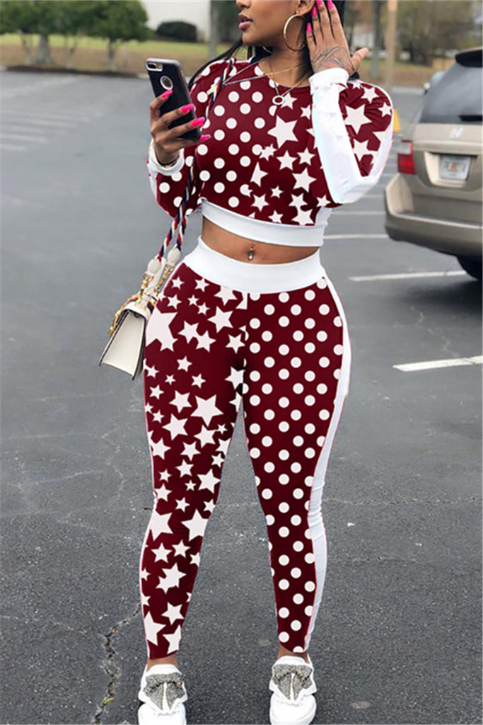 Polka Dot & Star Print Long Sleeve Two Piece Sets
