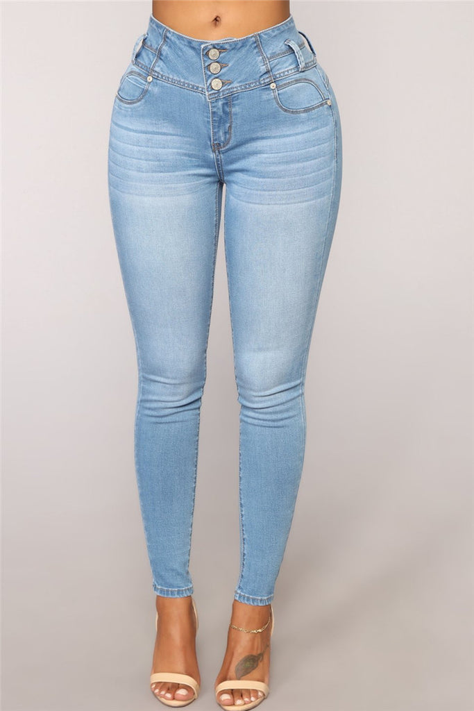 Button Up High Waist Pocket Skinny Jeans - WHATWEARS