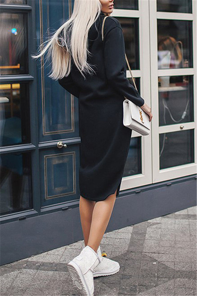 Hooded Collar Long Sleeve Pocket Casual Dress