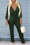 Solid Color V Neck Long Sleeve Belted Jumpsuit