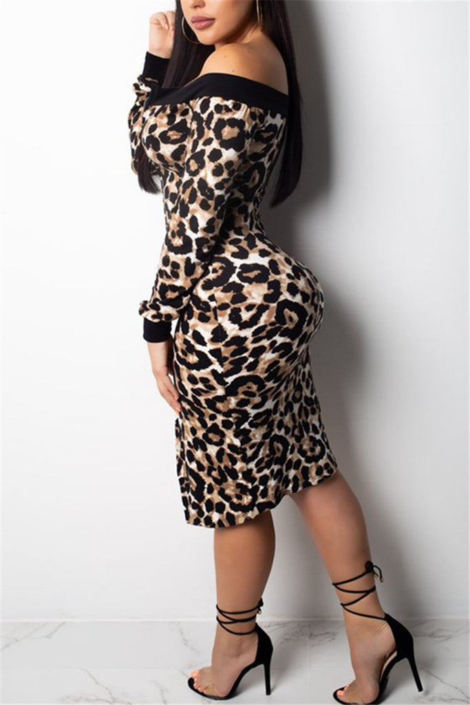 Long Sleeve Off the Shoulder Leopard Print Midi Dress