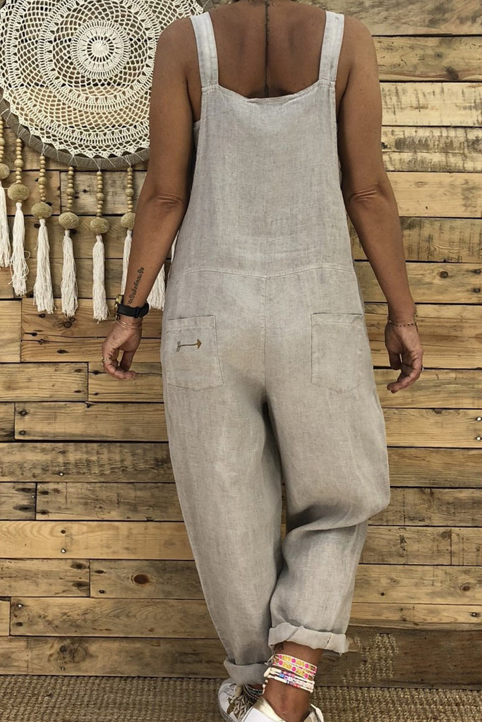 Spaghetti Straps Sleeveless Casual Solid Color Jumpsuit