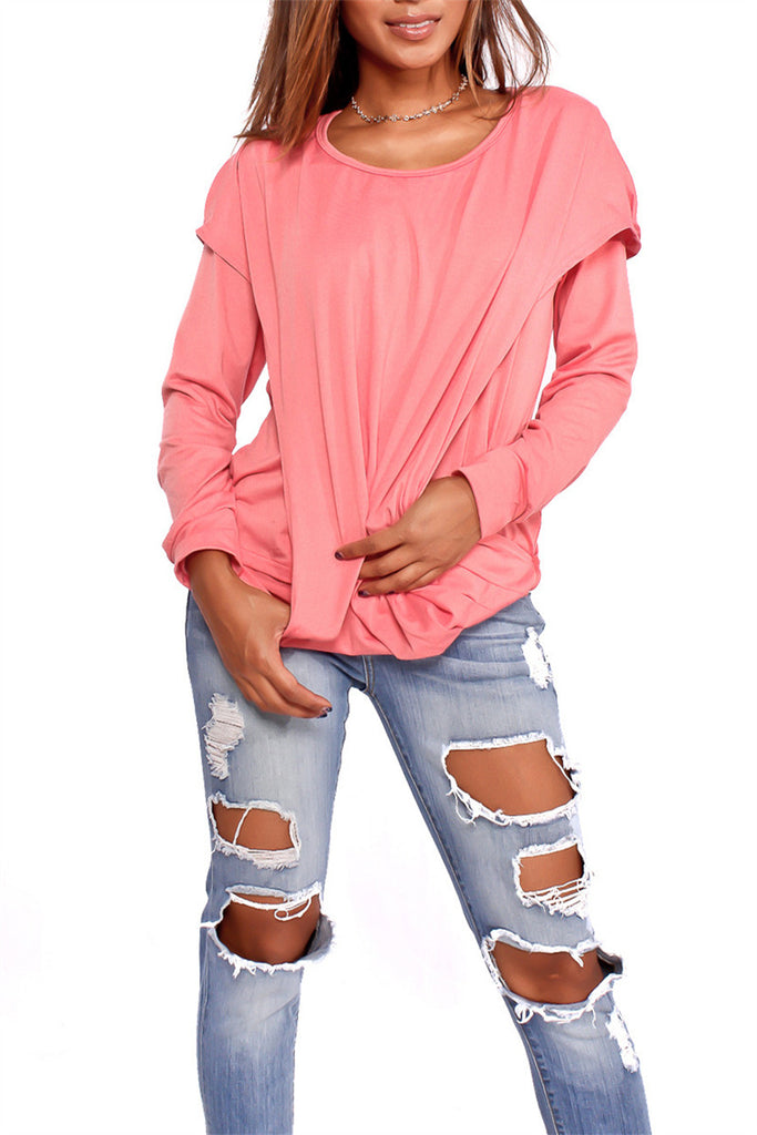 Long Sleeve Solid Color Faux Two Piece T Shirt