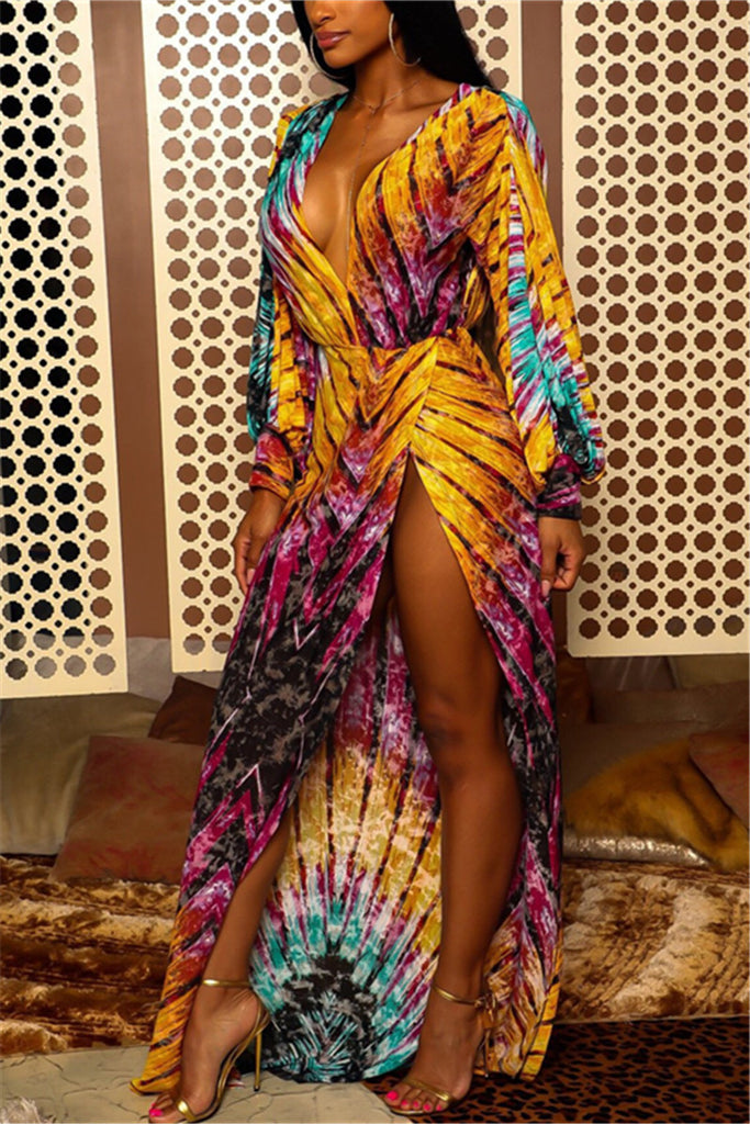 Plunging Neckline High Slit Printed Maxi Dress