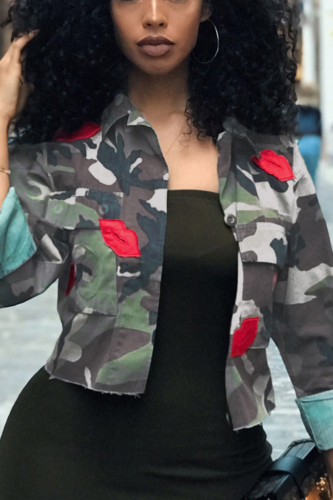 Camouflage Printed Long Sleeve Jacket - WHATWEARS