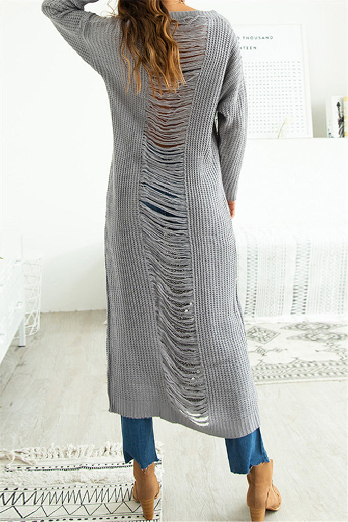Distressed Solid Color Long Sleeve Sweater Dress - WHATWEARS