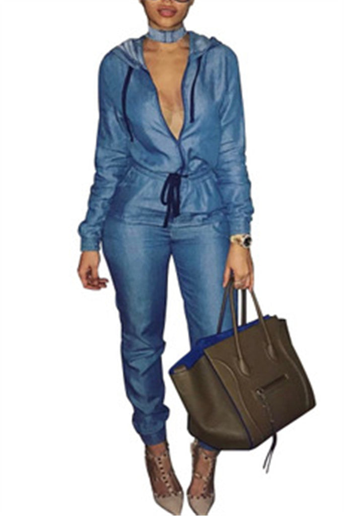 Long Sleeve Zip Up Drawstring Denim Jumpsuit