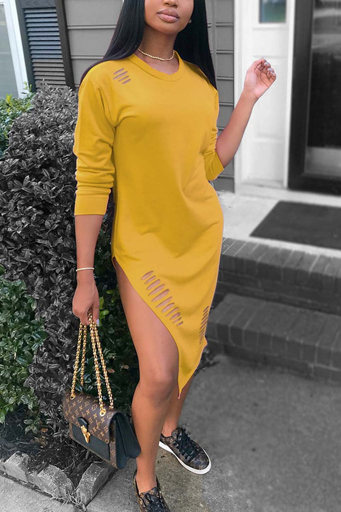 Hollow Out Long Sleeve Side Slit Solid Color Midi Dress