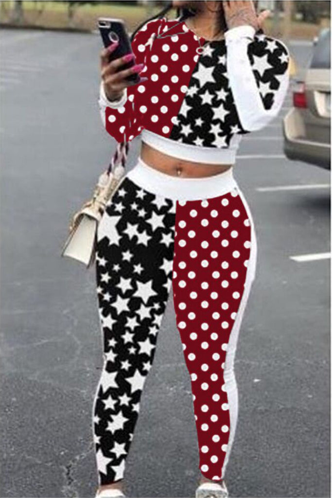 Star & Polka Dot Print Patchwork Casual Two Piece Sets