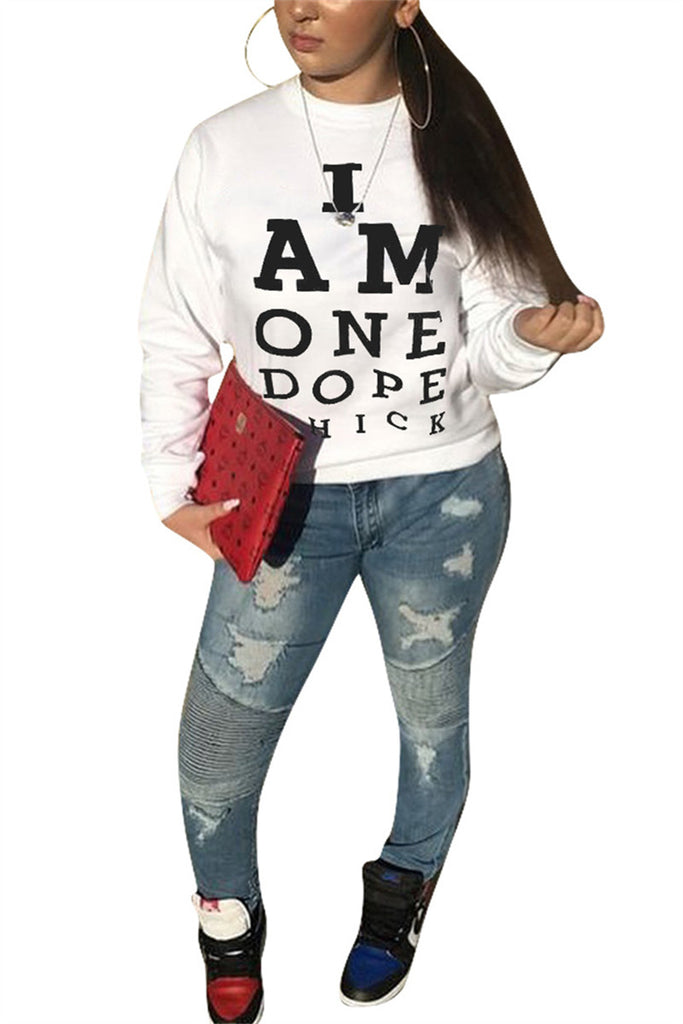 Letter Print Long Sleeve White Casual Sweatshirt