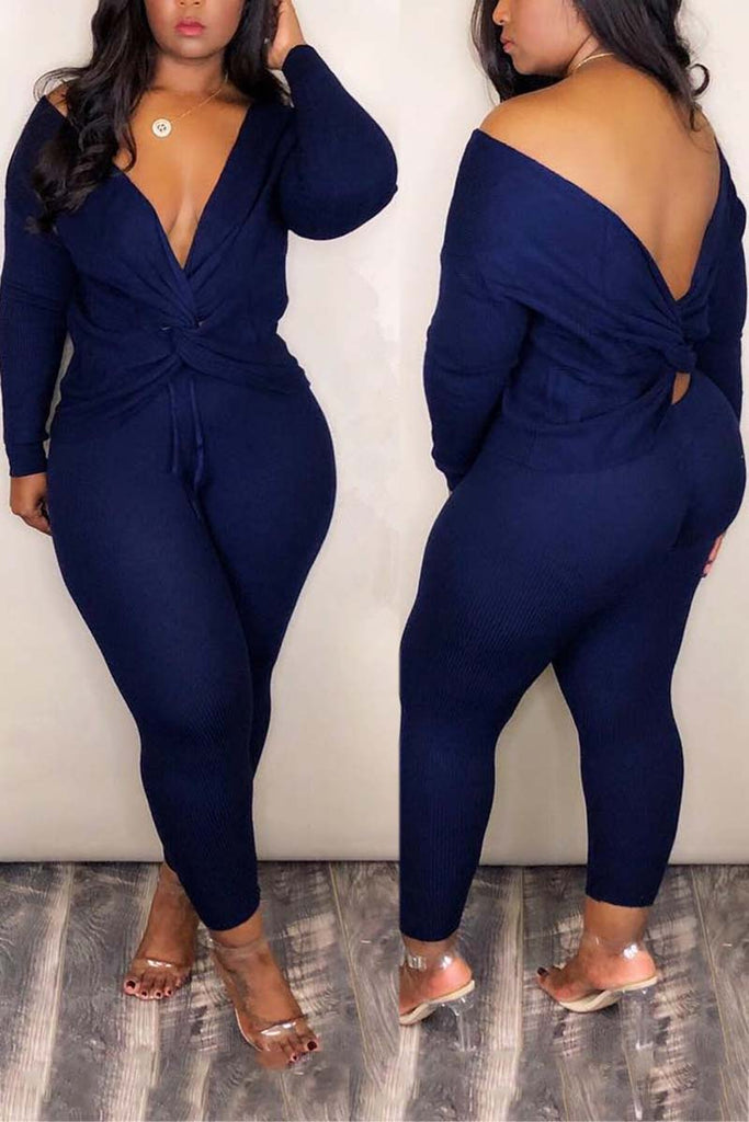 Bandage V Neck Solid Two Piece Sets - WHATWEARS
