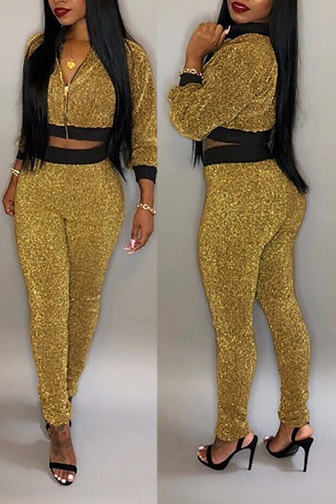 Sequined Zipper Up Long Sleeve Two Piece Sets