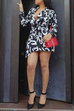 V Neck Long Sleeve Letter Print  Mini Dress With Belt