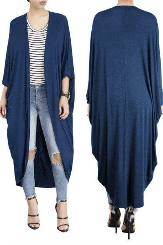 Batwing Sleeve Solid Color Open Front Cardigan - WHATWEARS