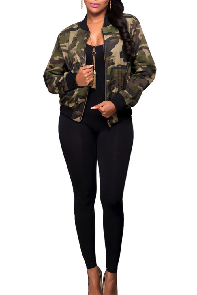 Camouflage Zip Up Long Sleeve Pocket Casual Jacket - WHATWEARS