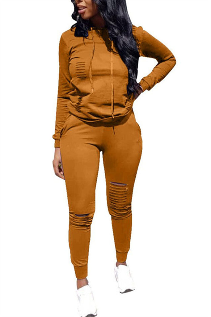 Distressed Hooded Collar Long Sleeve Casual Top & Pants - WHATWEARS