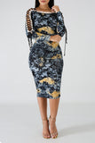 Bandage Shoulder Floral Print Long Sleeve Midi Dress